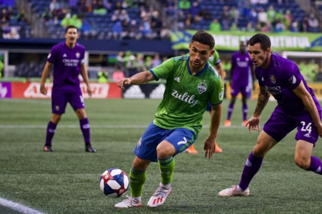 Cristian Roldan of Seattle Sounders FC vs. Orlando City SC