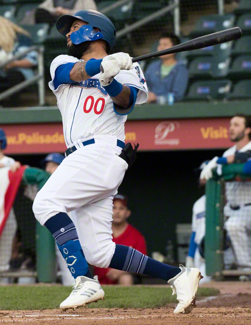 Cito Culver swings away for the Rockland Boulders