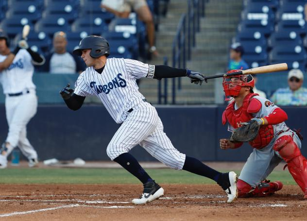 Pablo Olivares of the Tampa Tarpons bolts out of the box