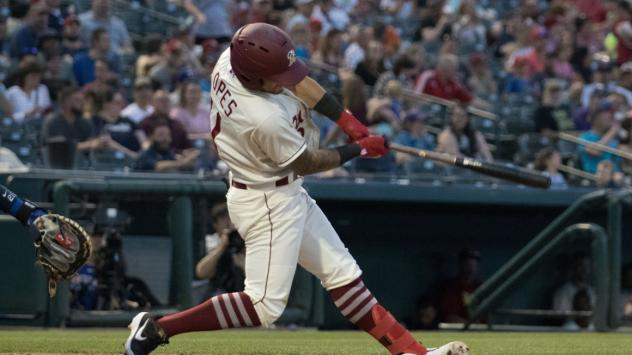Christian Lopes at bat for the Frisco RoughRiders
