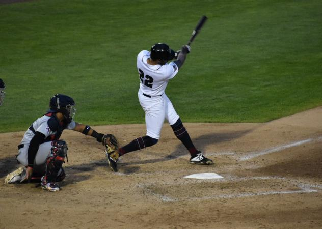 Michael Crouse of the Somerset Patriots swings for the fences