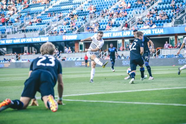 Sacramento Republic FC takes a shot against the San Jose Earthquakes in the U.S. Open Cup