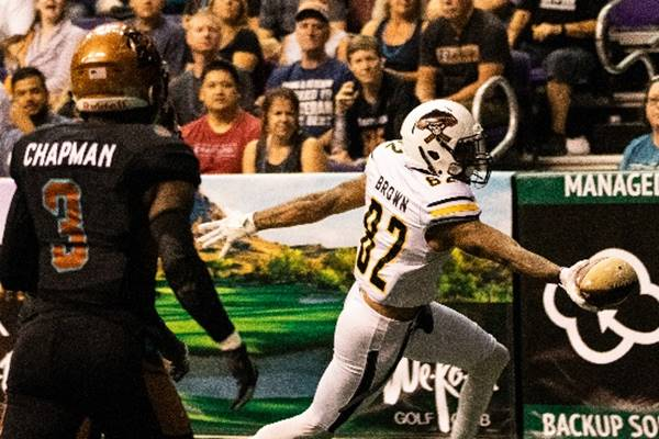 Rico Brown of the Tucson Sugar Skulls scores against the Arizona Rattlers