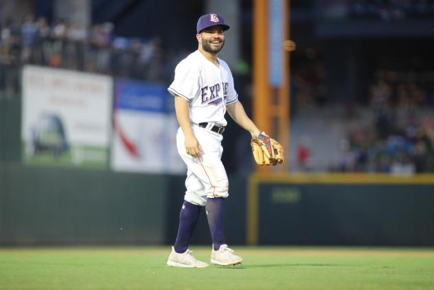 2B Jose Altuve in the field for the Round Rock Express