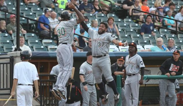 David Washington and Hector Sanchez of the Long Island Ducks exchange high fives