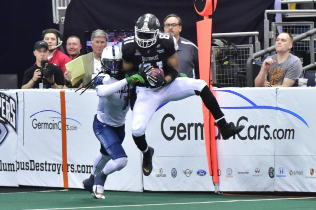 Columbus Destroyers WR Paul Browning makes a catch against the Baltimore Brigade