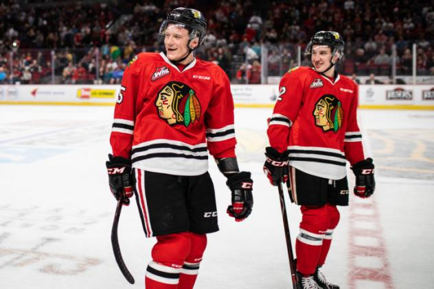 Johnny Ludvig (left) and Reece Newkirk of the Portland Winterhawks