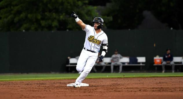 Connor Fitzsimons circles the bases for the Burlington Bees