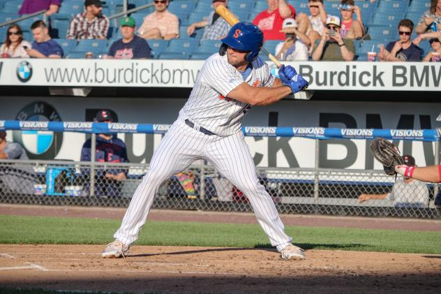 Tim Tebow reached base twice, including with a two-run double in the Syracuse Mets' win on Wednesday night