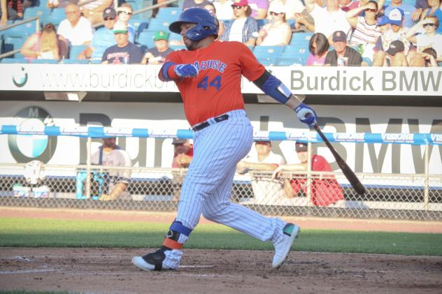 Rene Rivera had a go-ahead two-run single for the Syracuse Mets on Thursday night