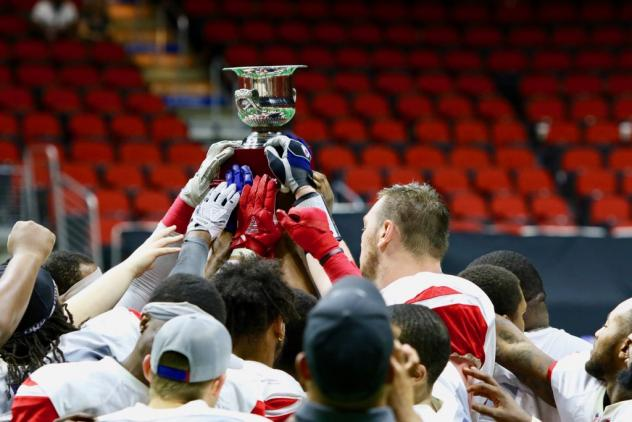 Sioux Falls Storm hoist the United Conference Championship trophy