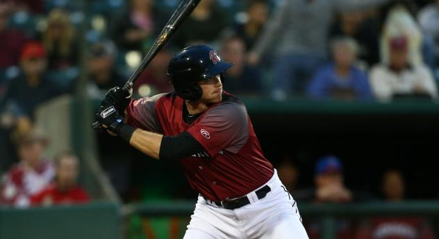Sacramento River Cats infielder Zach Green at the plate