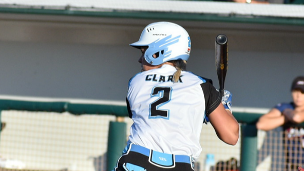 Emily Clark at bat for the Cleveland Comets