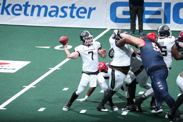Columbus Destroyers quarterback Kyle Rowley passes against the Washington Valor
