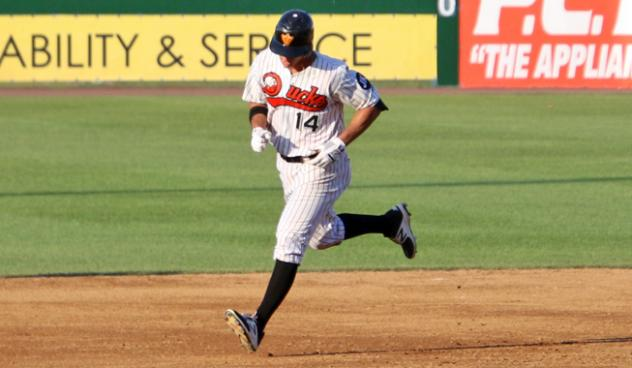 T.J. Rivera of the Long Island Ducks rounds the bases