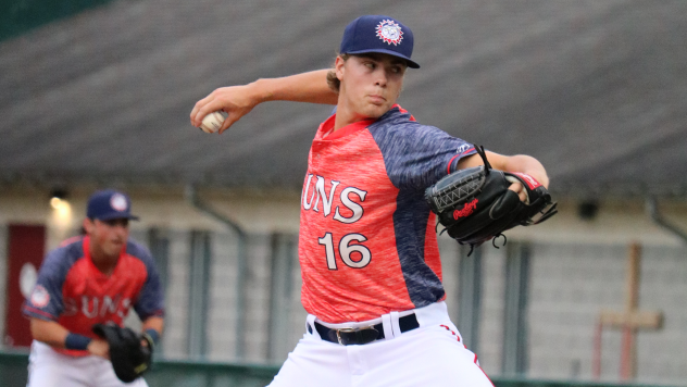 Hagerstown Suns pitcher Jake Irvin worked six shutout innings, wringing up six batters