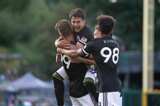 Tacoma Defiance celebrates a goal against Las Vegas Lights FC