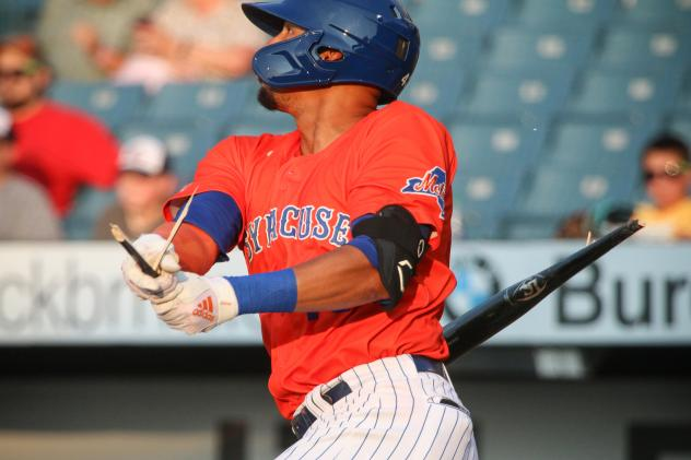 Aaron Altherr of the Syracuse Mets had three hits, including a three-run home run and a broken-bat single on Friday night
