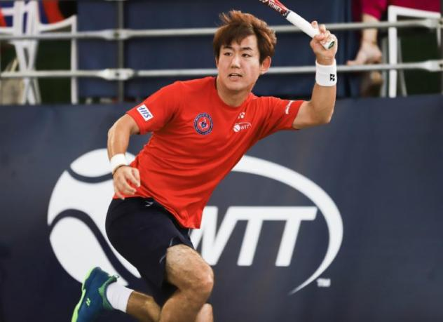 Yoshi Nishioka wore out his opponent in men's singles to get the Washington Kastles back on track