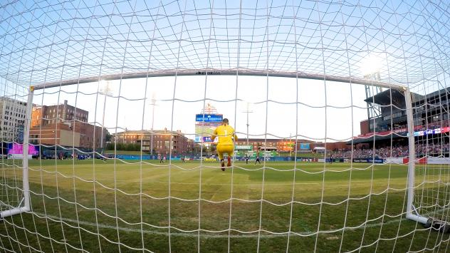 The view from behind the goal at a Memphis 901 FC game