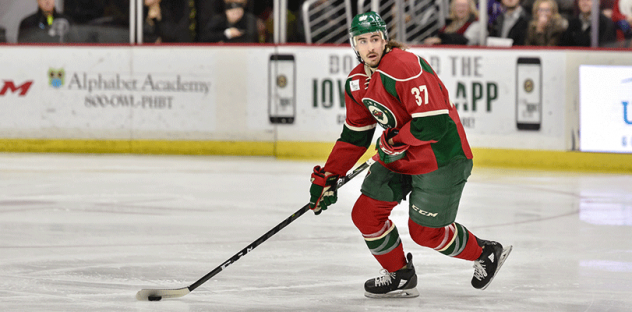 Defenseman Hunter Warner with the Iowa Wild