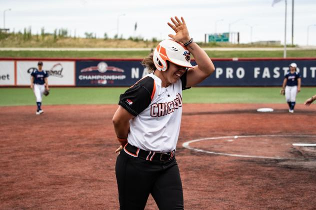 Amanda Chidester of the Chicago Bandits circles the bases after hitting a home run