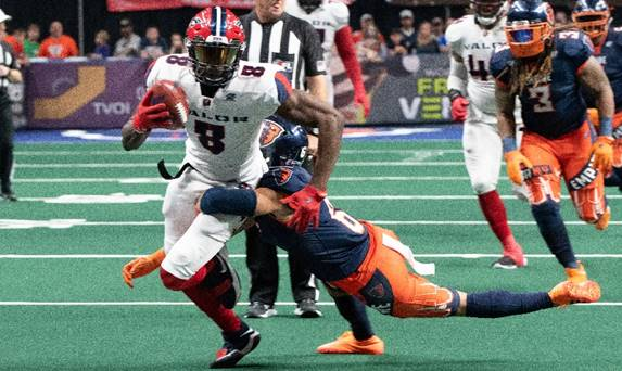 Washington Valor wide receiver Douglas McNeil III against the Albany Empire