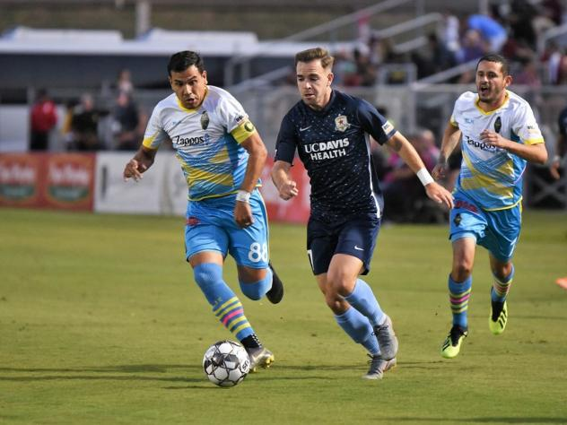 Junior Sandoval (left) took over the on-field captain role with Las Vegas Lights FC in Mid-July