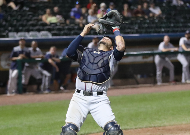 Somerset Patriots catcher Yovan Gonzalez