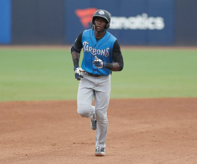 Estevan Florial of the Tampa Tarpons rounds the bases