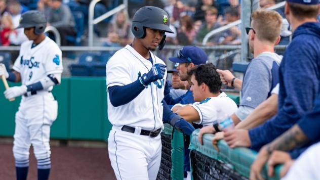 Everett AquaSox enter the dugout