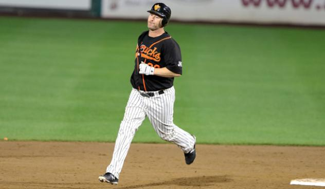 Lew Ford of the Long Island Ducks rounds the bases