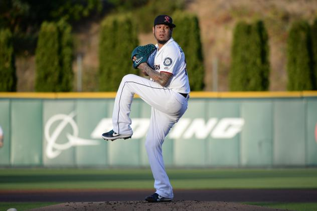 Felix Hernandez pitching for the Tacoma Rainiers