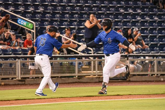 Pensacola Blue Wahoos catcher Ryan Jeffers rounds the bases after his 10th-inning homer