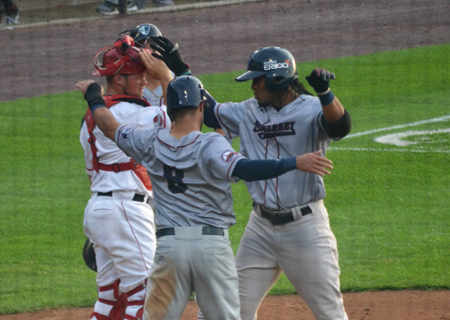 Jimmy Paredes of the Somerset Patriots celebrates at the plate