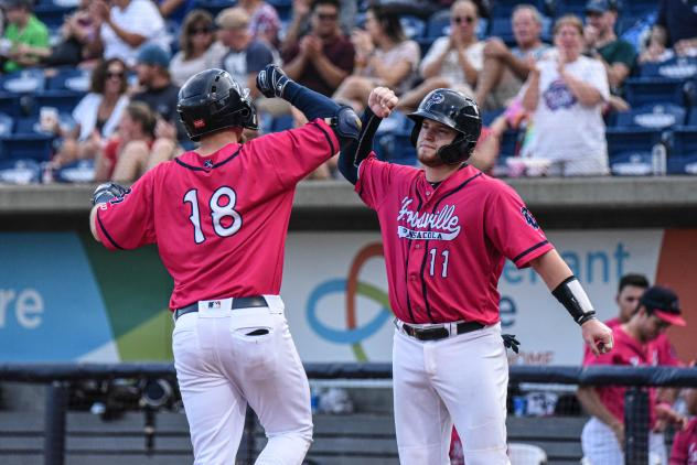 Pensacola Blue Wahoos celebrate a Ryan Costello home run