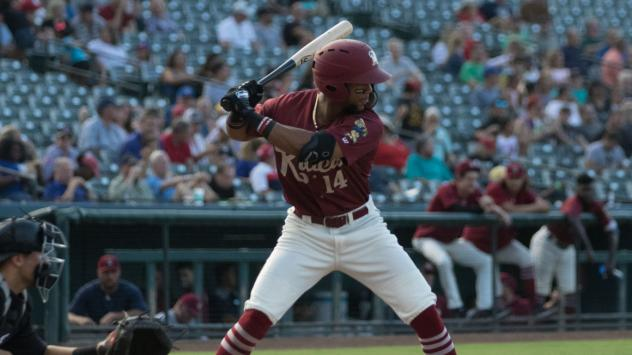 Leody Taveras at bat for the Frisco RoughRiders