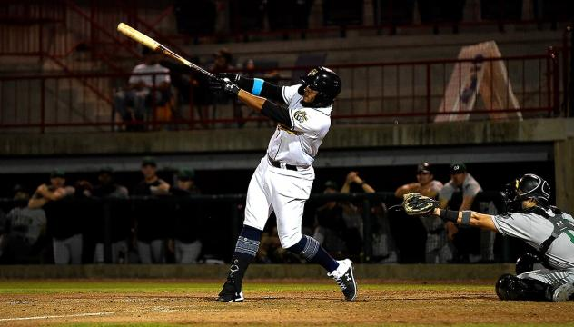 Kevin Maitan swings for the fences for the Burlington Bees