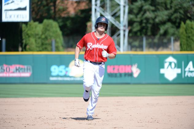 Jaycob Brugman of the Tacoma Rainiers on the basepaths