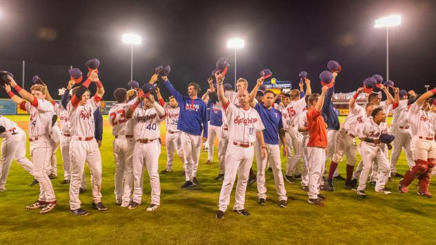 Spokane Indians wave goodbye to their fans after their home regular season finale
