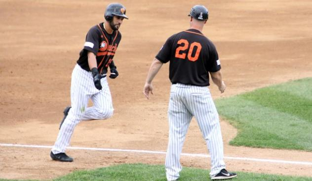 Rey Fuentes of the Long Island Ducks rounds the bases