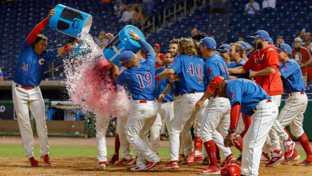 Clearwater Threshers celebrate a win during the 2019 season
