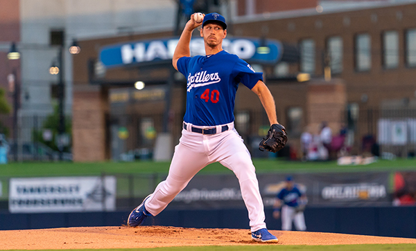 Texas Drillers pitcher Markus Solbach dominated for eight scoreless innings