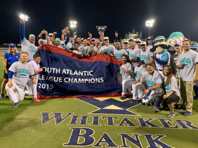 Lexington Legends celebrate their South Atlantic League championship