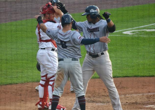 Jimmy Paredes with the Somerset Patriots celebrates his homer