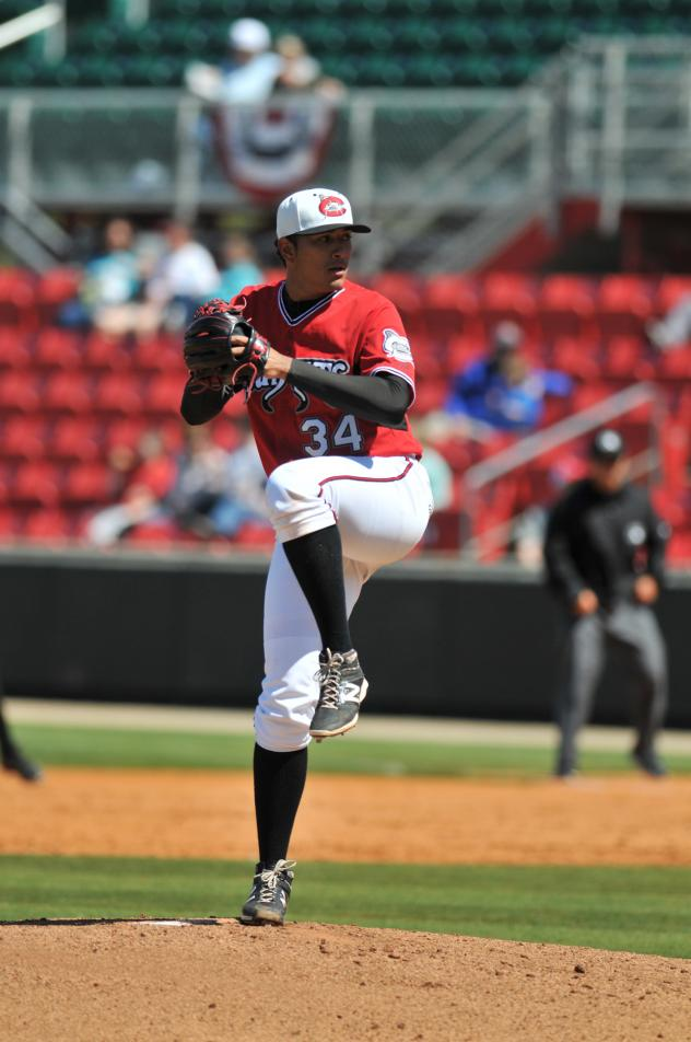 Pitcher Enderson Franco with the Carolina Mudcats in 2016
