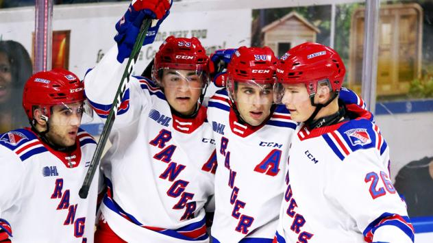 Kitchener Rangers celebrate a goal