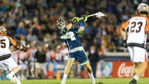 Chesapeake Bayhawks attackman Colin Heacock vs. the Denver Outlaws