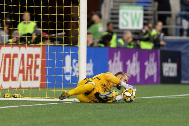 Seattle Sounders FC goalkeeper Stefan Frei makes a save