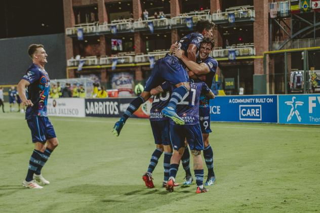 El Paso Locomotive FC celebrate a goal against Colorado Springs Switchbacks FC